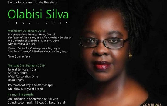 Events to commemorate the life of Bisi Silva, founder and artistic director of CCA, Lagos