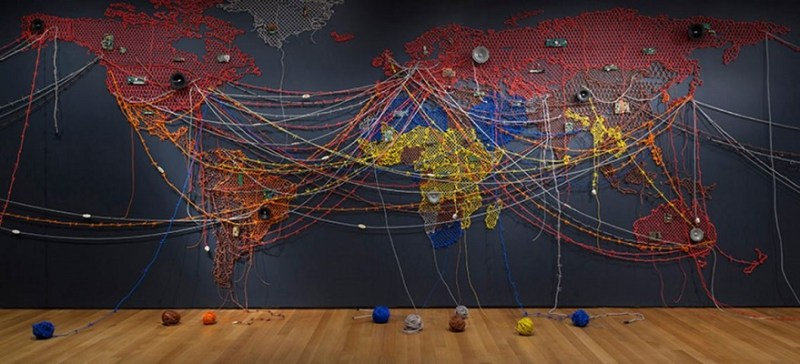 "Reena Saini Kallat's ""Woven Chronicle,"" as seen installed at the Museum of Modern Art, will be included in the ICA's exhibition. Courtesy Jonathan Muzikar/The Museum of Modern Art/Licensed by SCALA / Art Resource, NY."