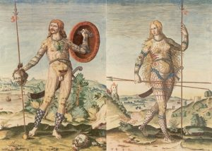 16世紀のイタリアで描かれたピクト人の男女の姿
