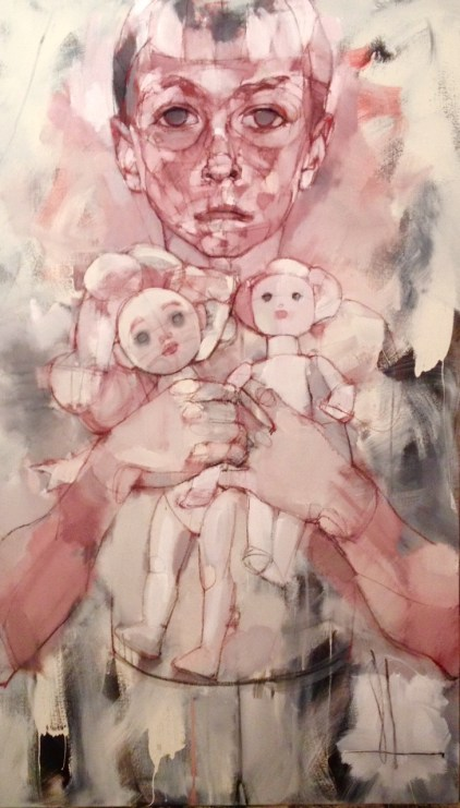Child holding dolls 2015 mixed media on canvas 48x28in