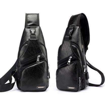 Сумка слинг мужская ArtX Sling эко-кожа #090K-1 черная
