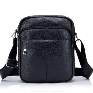 Мужская кожаная сумка через плечо ArtX CrossBody черная #071-1