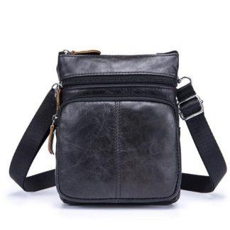 Мужская кожаная сумка через плечо ArtX CrossBody черная #72-1