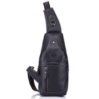 Мужской рюкзак-сумка-кобура Cross Body кожаная ArtX Captain черная #094-1K