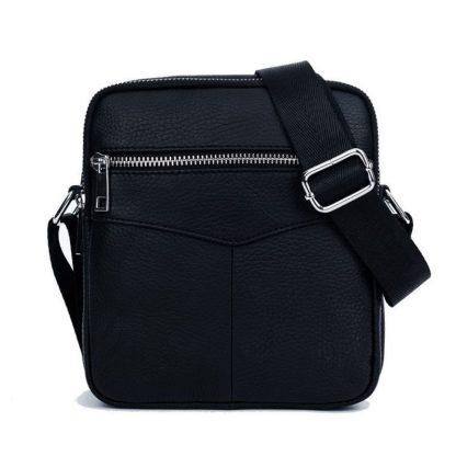 Мужская кожаная сумка через плечо ArtX CrossBody черная #73-1