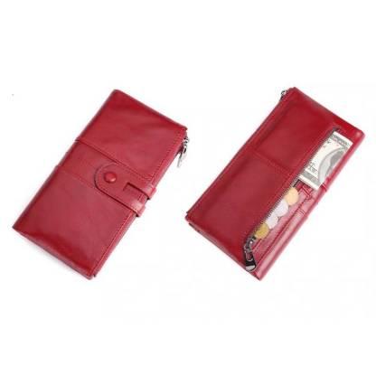 Кошелек женский кожаный c защитой ArtX RFID красный #180-3