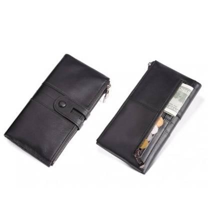 Кошелек женский кожаный c защитой ArtX RFID черный #180-1