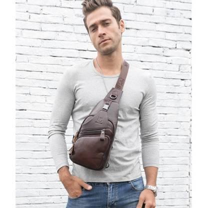 Рюкзак-сумка-кобура ArtX Cross Body шкіряна кава #090-2SH