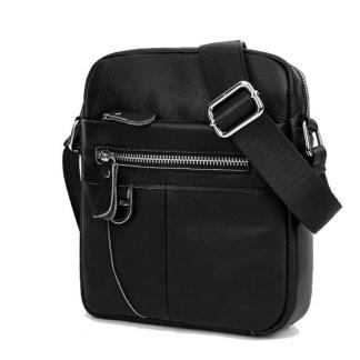Чоловіча шкіряна сумка через плече ArtX CrossBody чорна #074-1