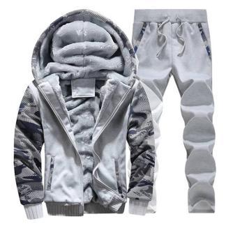 Тёплый спортивный костюм на меху ArtX Camo светло-серый #312-42