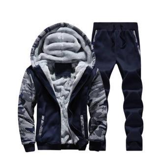 Тёплый спортивный костюм на меху ArtX Camo темно-синий #313-42