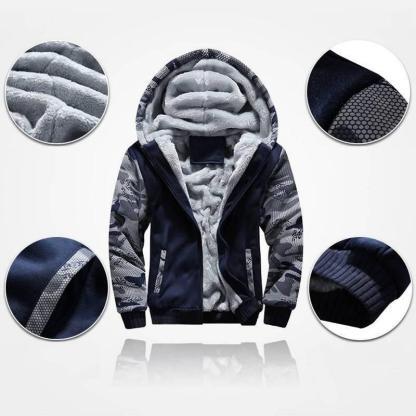 Теплый спортивный костюм на меху ArtX Camo темно-синий #313