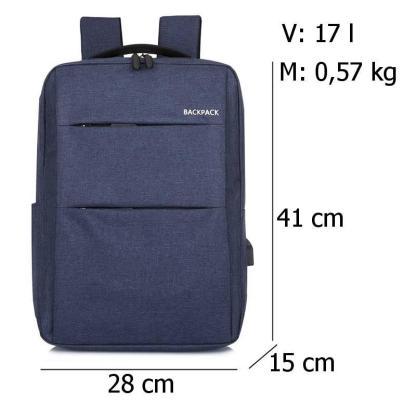 Городской рюкзак для ноутбука ArtX Minimalist-2  USB 17 л Синий #219-3