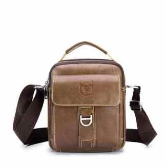 Мужская кожаная сумка ArtX Captain коричневая #075-2