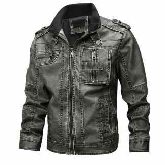 Бомбер мужской кожаный ArtX #602-1 черный.