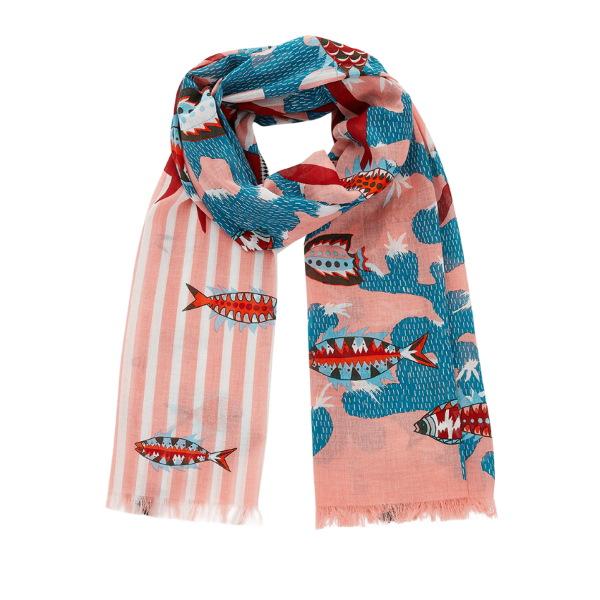 Inouitoosh-ss20-echarpe-coton-poissons-palaos-corail