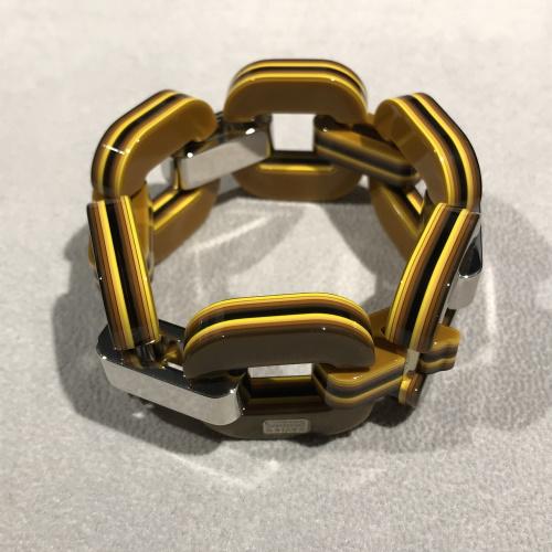 xavier-derome-bracelet-acetate-recto-jaune-verso-brun-artydandy