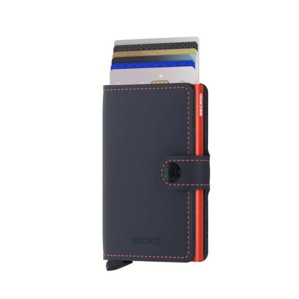Porte-cartes-cuir-Secrid-Miniwallet-Matte-Night-Blue-Orange-Front-avec-cartes-artydandy