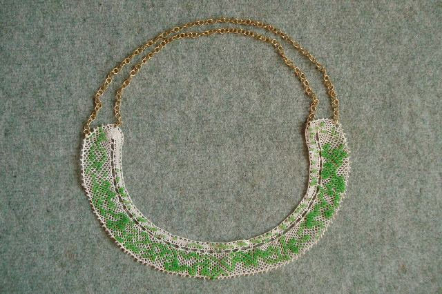 embroidered necklace with antique  lace, copper and glass beads