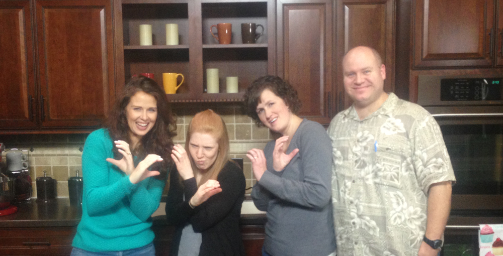 This was the most serious of the photos we took.  We came up with a gang sign for Cookie Con 2015  L - R Arty, Stephanie of The Hungry Hippopotamus, Karen, and Mike