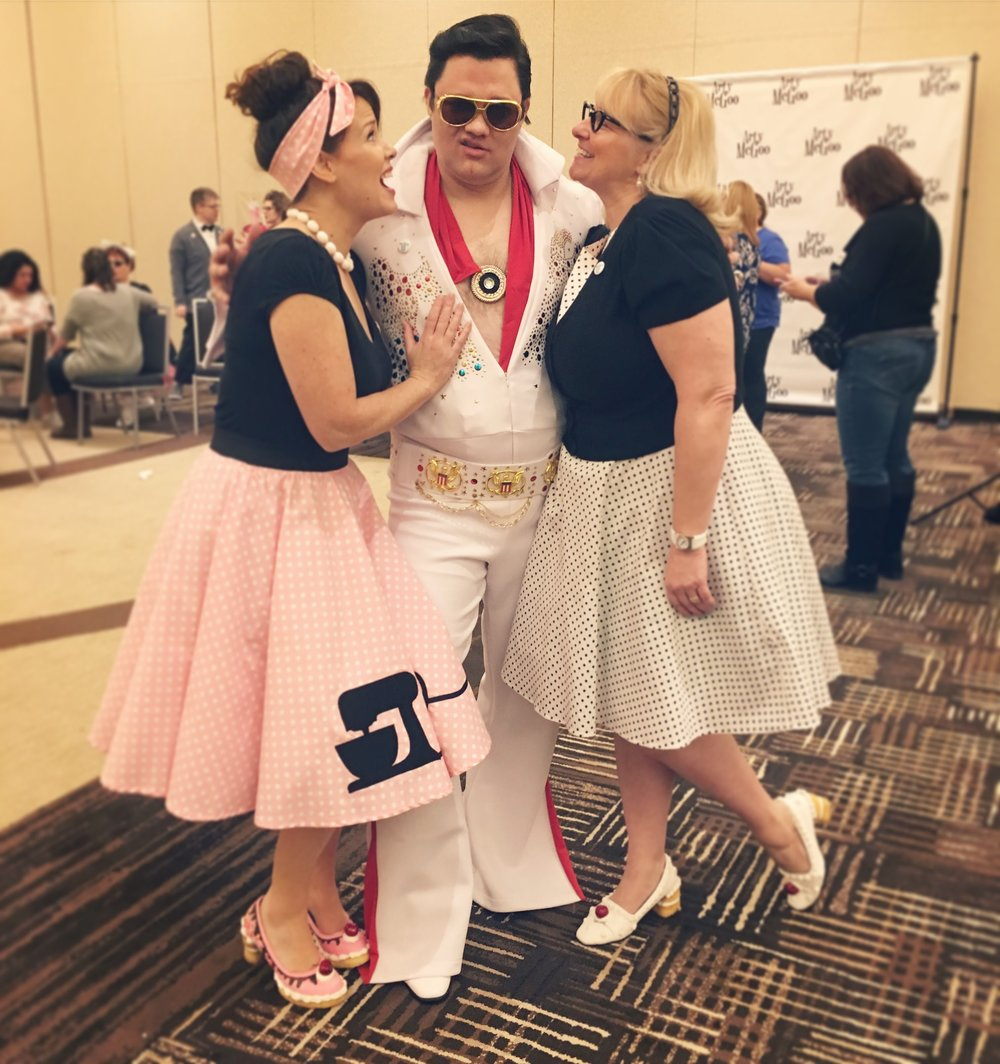 At the sock hop: Arty, Elvis, and Kim who decorated her shoes too!