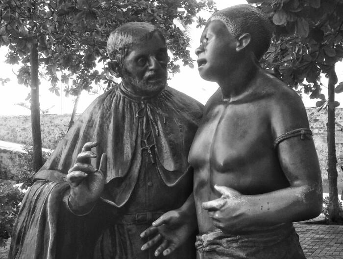 """Pedro Claver misiolari """"ona"""" eta """"indioa"""". Cartagena de Indias."""