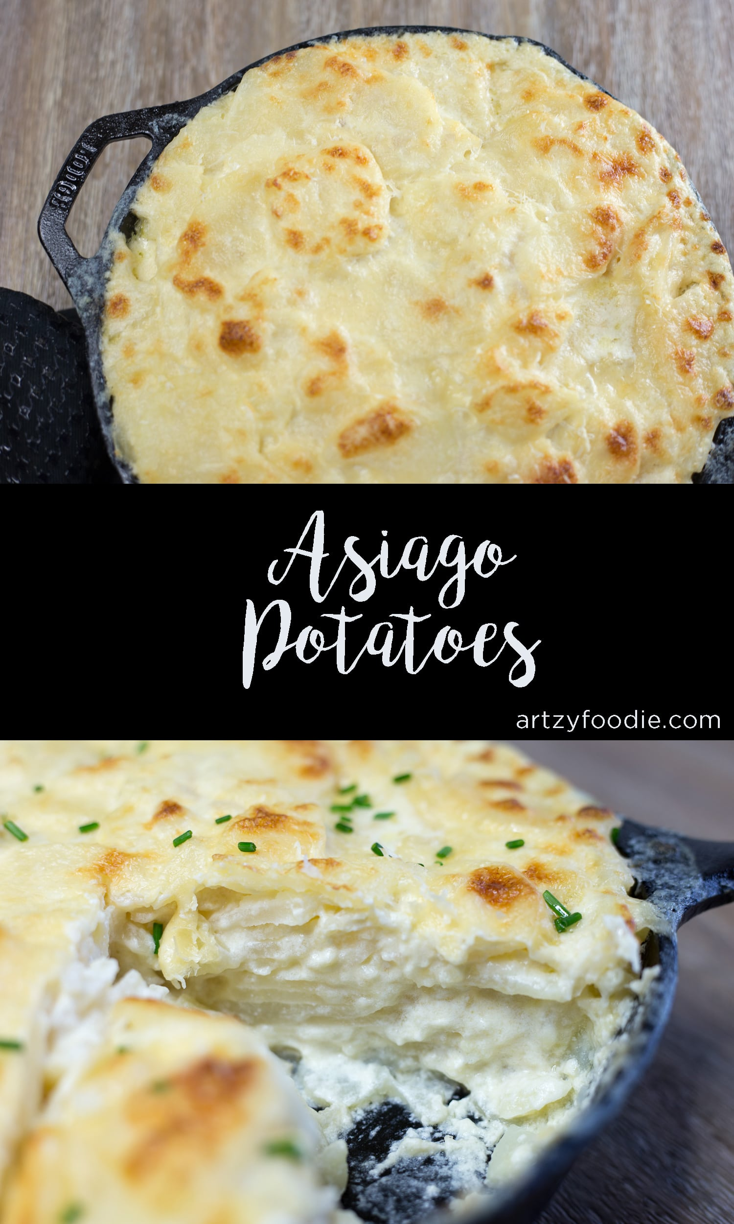 Asiago potatoes are a cheesy, creamy side dish that is irresistible! |artzyfoodie.com|