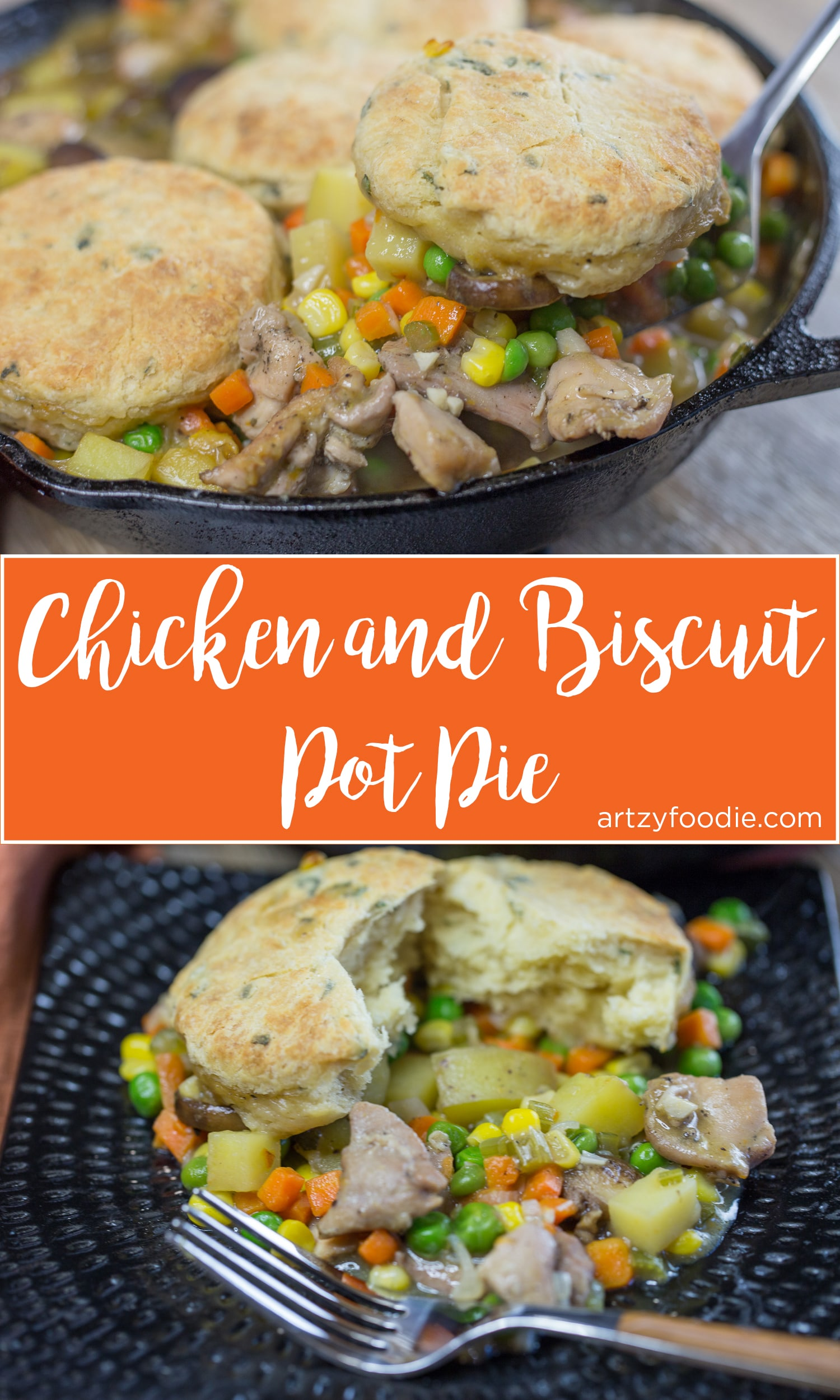 Chicken and biscuit pot pie is a one pot meal consisting of tender chicken and yummy vegetables in a creamy sauce topped with sage biscuits! |artzyfoodie.com|