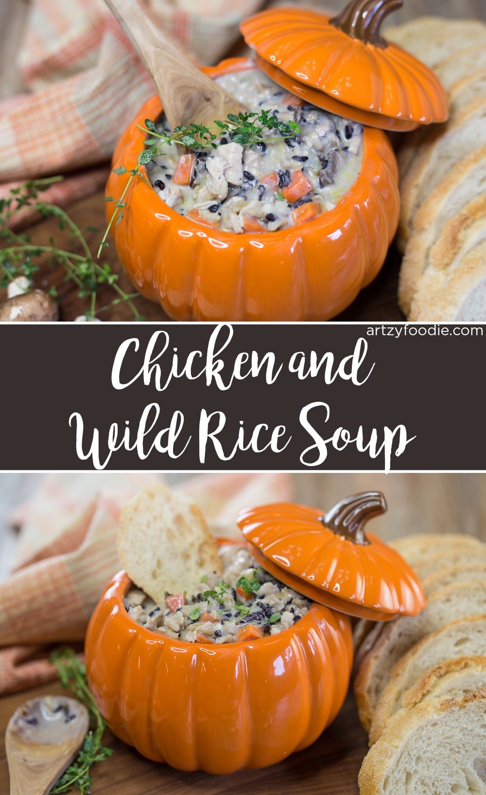 Chicken and wild rice soup is a thick, chunky, hearty, stick to your ribs kind of soup that makes you happy inside when you eat it! |artzyfoodie.com|