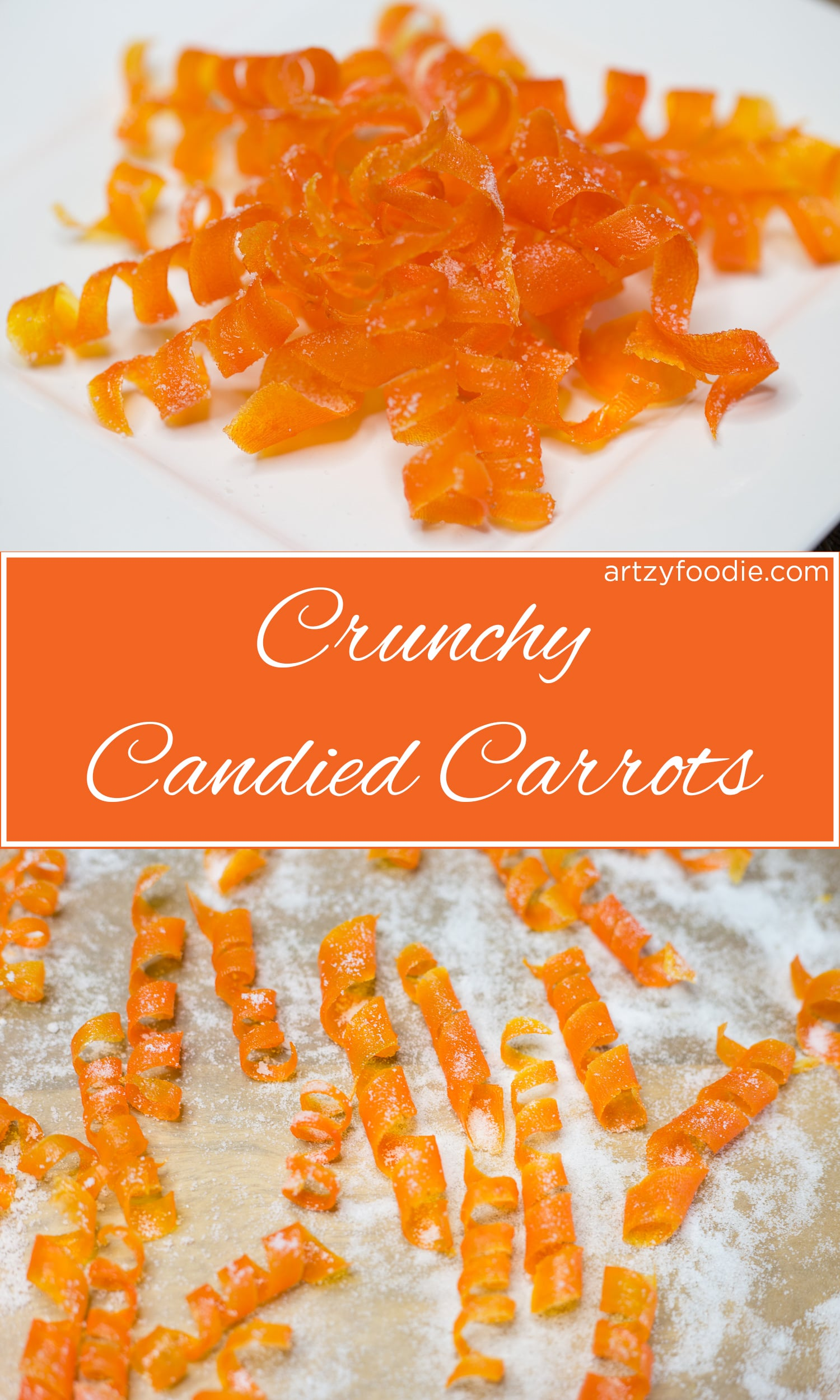 Candied carrots are as much fun to make as they are to eat! These super cute candied carrot curls have been boiled in sugar water, baked, and dusted with even more sugar! |artzyfoodie.com|