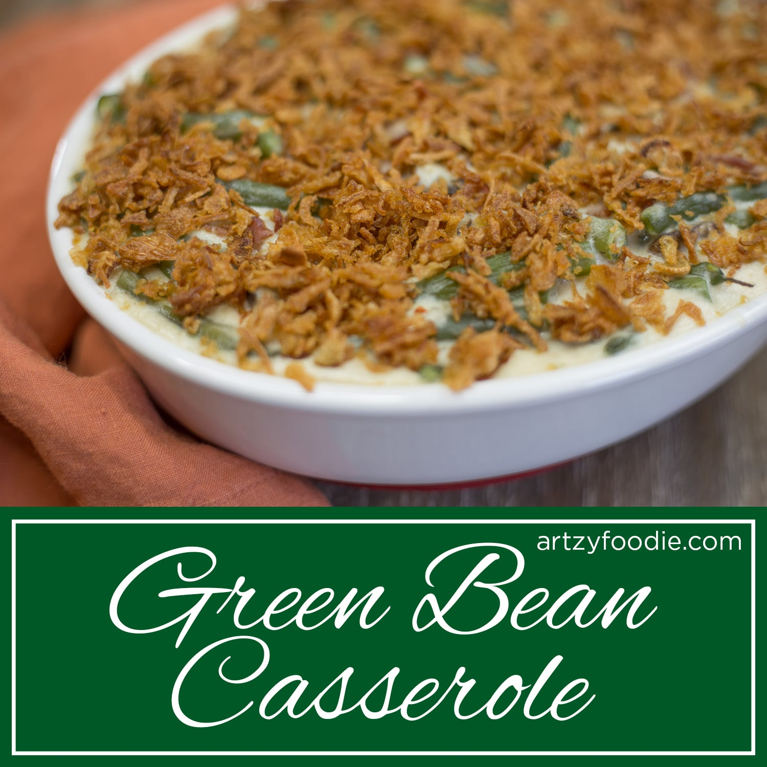 This green bean casserole is so delicious! You can taste the smokiness from the bacon, the nuttiness of the parmesan cheese, and the tang from the sour cream. Even your pickiest eater won't be able to resist this dish!