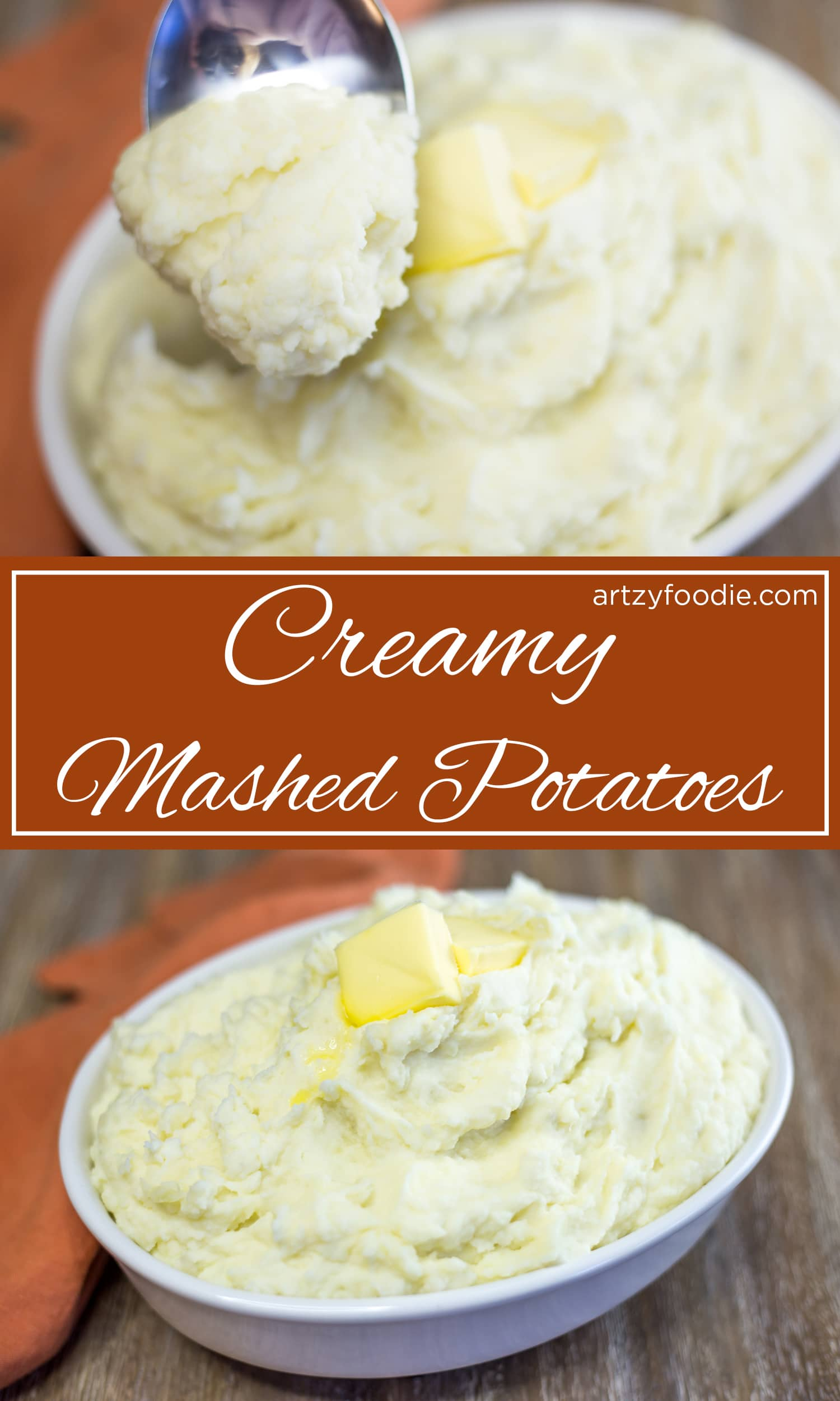 These creamy potatoes with garlic infused heavy cream, butter, sour cream, and salt can't be beat! |artzyfoodie.com|