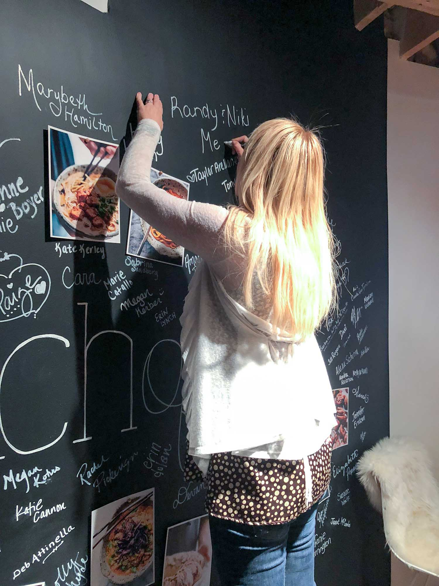 Signing the Pinch of Yum Chalk Board