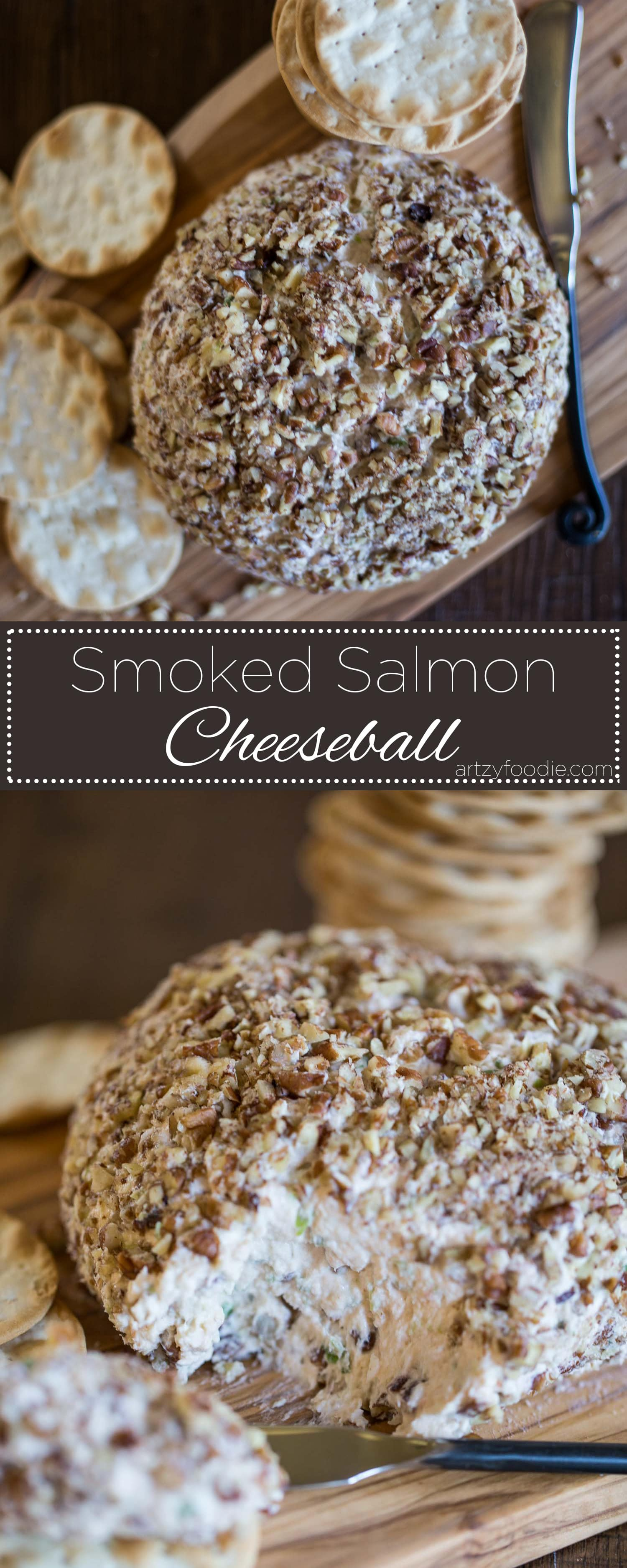 Smoked salmon cheeseball is one of my favorite appetizers for the holiday season! |artzyfoodie.com|