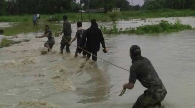 Army Rescued Flood Affected People in Chirang