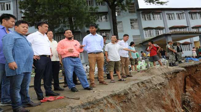 Itanagar- CM Khandu Visits Landslide Site Near AG Building