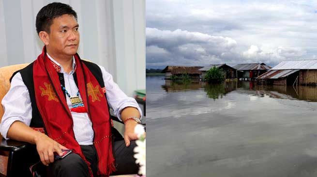 Khandu Reviews The Flood Situation In The State