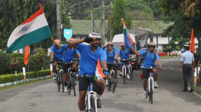 IAF organised Cycling Expedition from Chabua Air Base to Delhi