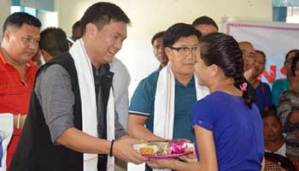 CM Khandu visits Donyi Polo Mission School celebrates his son's birthday with kids