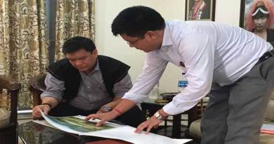 Pasighat- Khandu Visits Construction Site of Outdoor Stadium