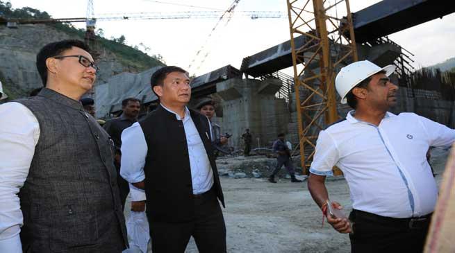 Pema Khandu and Kiren Rijiju Visits Bichom dam site