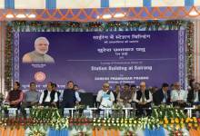 Photo of Prabhu Lays Foundation Stone of Sairang Railway Station Building in Mizoram