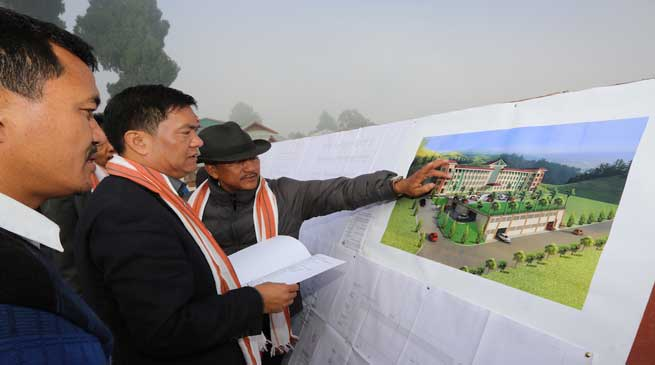 Khandu inspects site of Mini Secretariat, inspects ongoing work of sports stadium at Ziro