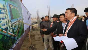 Khandu inspects site of Mini Secretariat, inspects ongoing work of sports stadium at Ziro