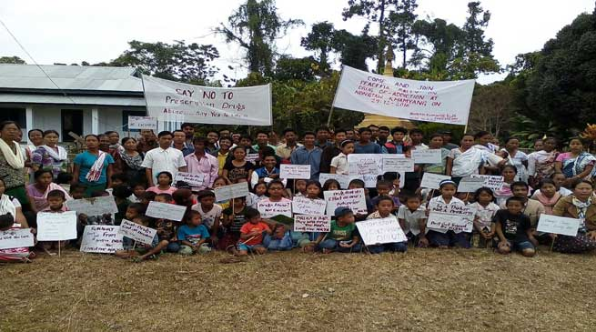 Anti-drug rally organised by the Nongtaw Shyam Youth Association