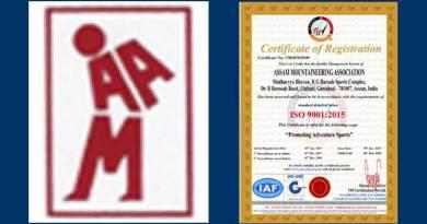 Assam Mountaineering Association begs ISO 9001:2015 certificate