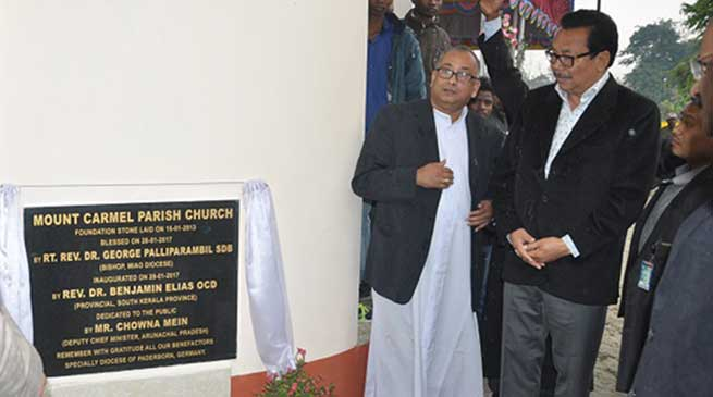 Chowna Mein inaugurates Mount Carmel Church