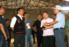 Photo of Khandu inspects the ongoing construction of Convention Hall