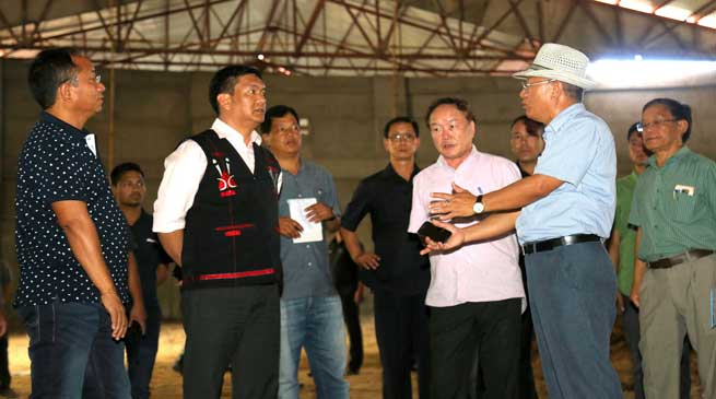 Khandu inspects the ongoing construction of Convention Hall