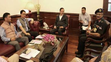 Photo of Khandu and Bhamre discuss compensation and land acquisition issues for defence purposes